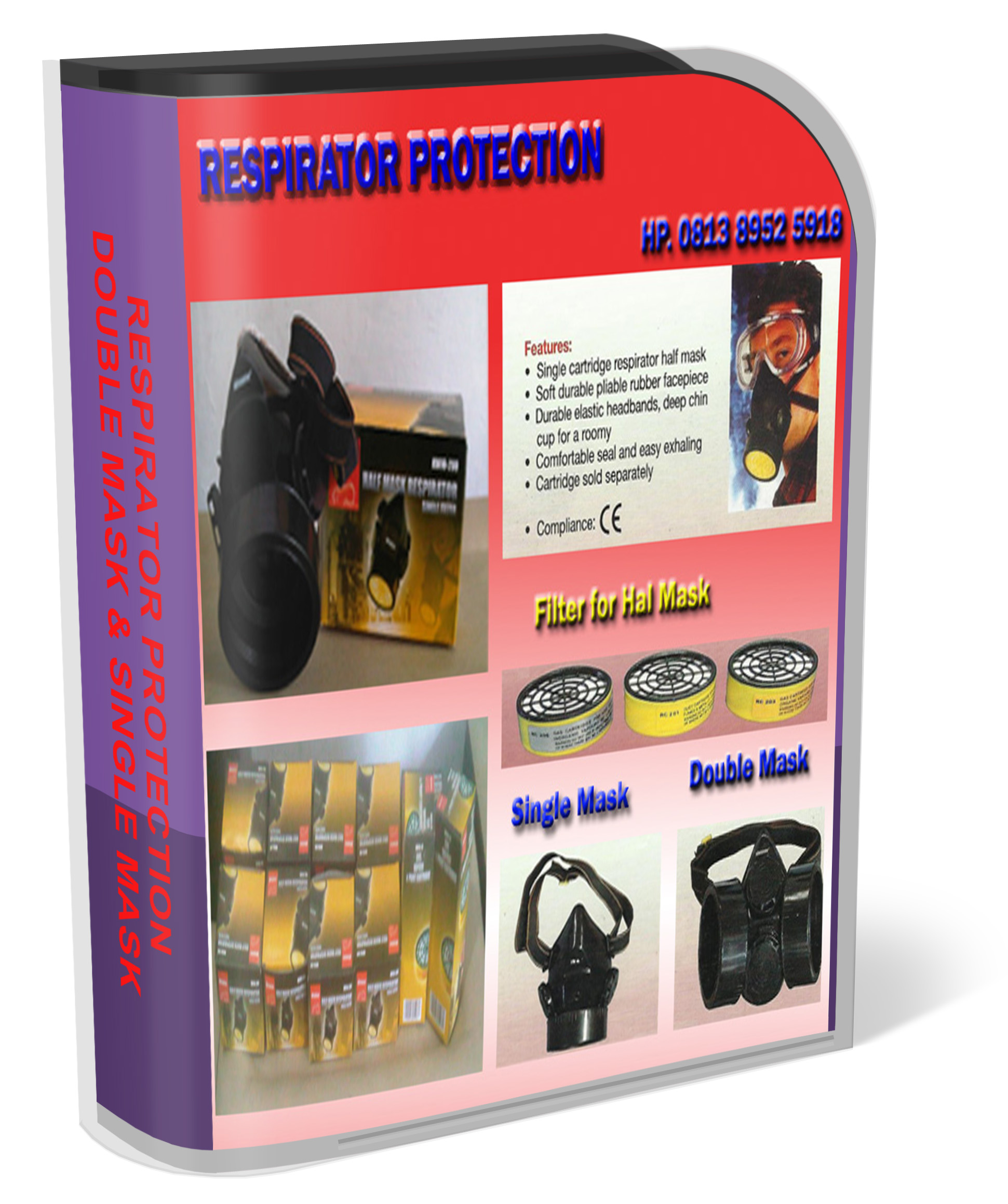 Respirator protection,masker pernapasan, half mask respiator double, single mask